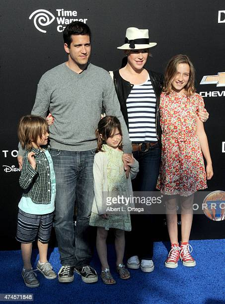 Actor Panio Gianopoulos and actress Molly Ringwald with daughters arrive for the Premiere Of Disney's Tomorrowland held at AMC Downtown Disney 12...