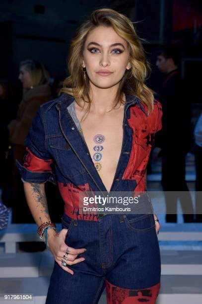 Actor Paris Jackson attends the Calvin Klein Collection front row during New York Fashion Week at New York Stock Exchange on February 13 2018 in New...