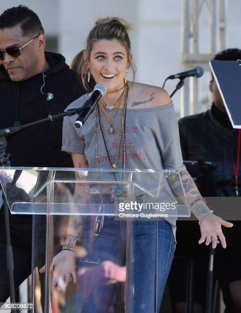 Actor Paris Jackson speaks during the Women's March Los Angeles 2018 on January 20 2018 in Los Angeles California