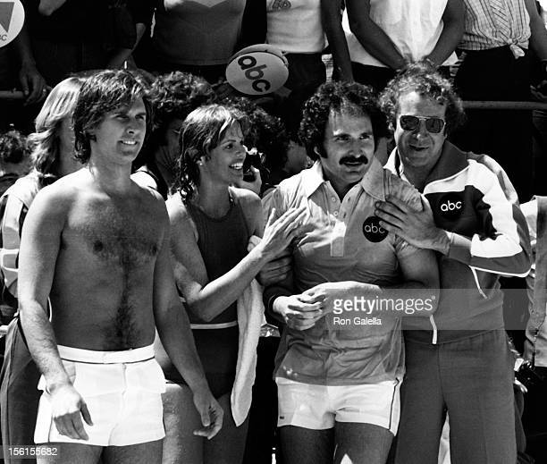Actor Parker Stevenson musician Toni Tennille and actor Gabe Kaplan attend the taping of 'Battle Of The Network Stars' on April 1 1978 at Pepperdine...