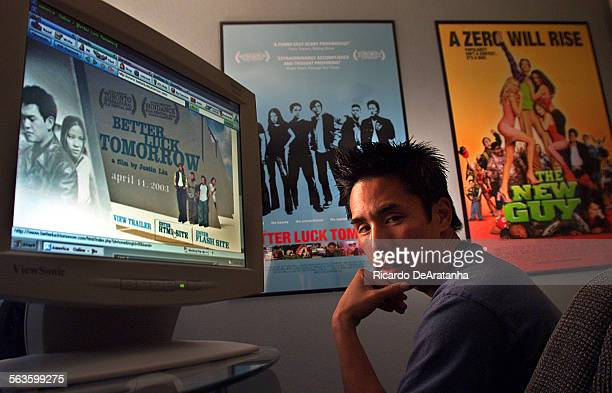 Actor Parry Shen posing by his computer at his home office Photo to illustrate story about how independent films and small movies are turning to...