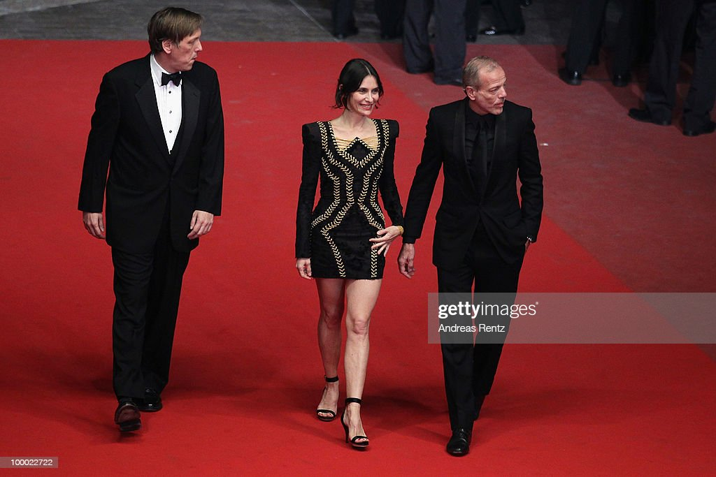 Actor Pascal Greggory with actress Geraldine Pailhas and director Lodge Kerrigan attends the 'Rebecca H. (Return To The Dogs)' Premiere at the Palais des Festivals during the 63rd Annual Cannes Film Festival on May 20, 2010 in Cannes, France.