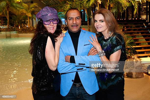 Actor Pascal Legitimus his wife Adriana Santini and actress Cyrielle Clair attend the 1st wedding anniversary party of Cyrielle Clair and businessman...