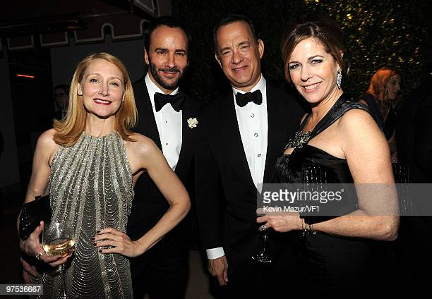 WEST HOLLYWOOD CA MARCH 07 *EXCLUSIVE* Actor Patricia Clarkson director/designer Tom Ford and actors Tom Hanks and Rita Wilson attend the 2010 Vanity...