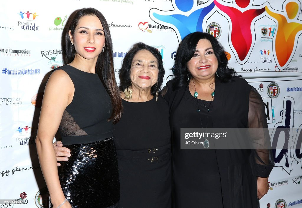 Actor Patricia Maya, civil rights activist Dolores Huerta and founder & executive director of Familia Unida Irma Redendez attend The Familia Unida's 4th annual fundraising dinner gala at Millennium Biltmore Hotel on April 13, 2017 in Los Angeles, California.