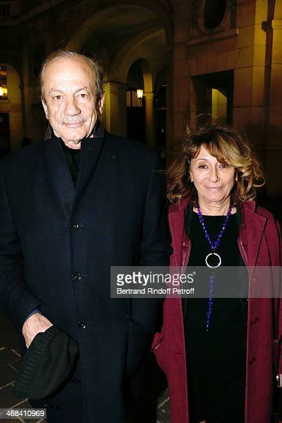 Actor Patrick Chesnais and his companion Josiane Stoleru attend 'La Porte a Cote' Theater Play premiere Held at Theatre Edouard VII on February 10...