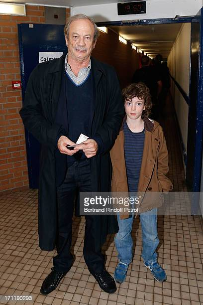 Actor Patrick Chesnais and his son Victor attend the last concert in Paris of Patrick Bruel held at Palais Omnisports de Bercy on June 22 2013 in...