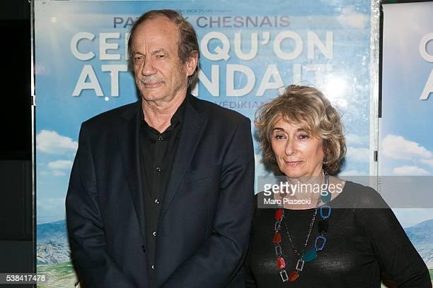 Actor Patrick Chesnais and Josiane Stoleru attend the 'Celui qu'on Attendait' Premiere at UGC Cine Cite des Halles on June 6 2016 in Paris France