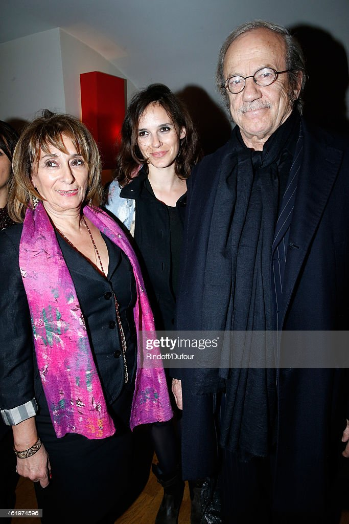 Actor Patrick Chesnais with his wife Josianne Stoleru and their daughter Emilie Chesnais attend the 'Talking to the Trees - Retour a La Vie' movie screening at Cinema l'Arlequin on March 2, 2015 in Paris, France.