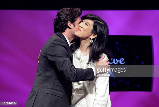 Actor Patrick Dempsey and Avon Chairman and CEO Andrea Jung attend AVON 125th Celebration Global Believe Tour at Gibson Amphitheatre on February 9,...