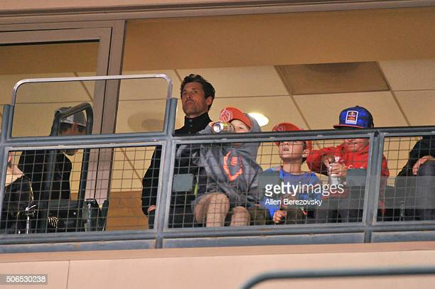Actor Patrick Dempsey and kids watch the Monster Energy Supercross from a suite at Angel Stadium of Anaheim on January 23 2016 in Anaheim California