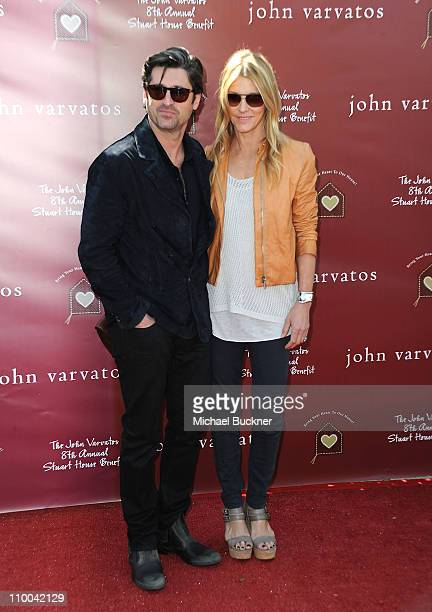 Actor Patrick Dempsey and wife Jillian attend John Varvatos' 8th Annual Stuart House Benefit at the John Vavatos Store on March 13 2011 in West...