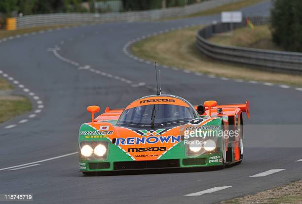 Actor Patrick Dempsey drives the 1991 Mazda 787B prototype to celebrate the 20th anniversary of the car's victory at Le Mans prior to practice for...