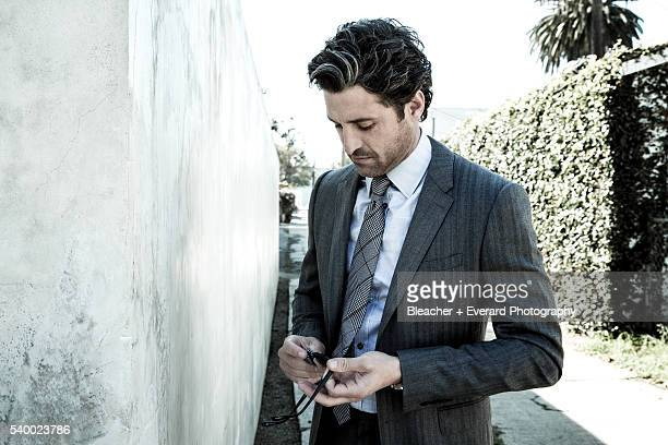 Actor Patrick Dempsey is photographed for August Man on February 13 2014 in Los Angeles California Styling Erin McSherry Stacey Kalchman Grooming...