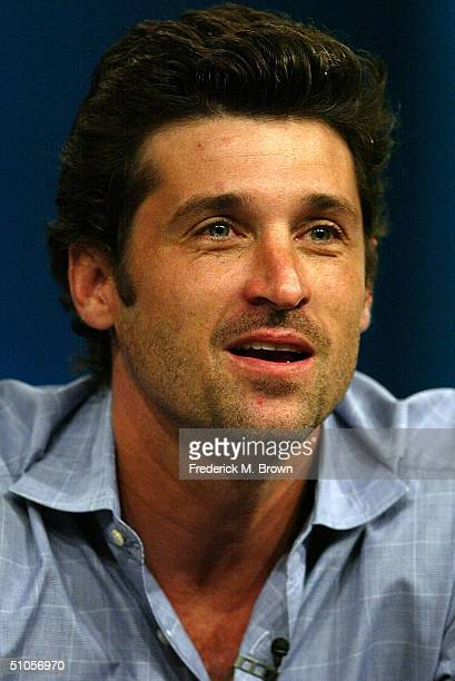 Actor Patrick Dempsey of 'Grey's Anatomy' speaks with the press at the ABC Summer TCA Press Tour Day 2 at the Century Plaza Hotel on June 13 2004 in...