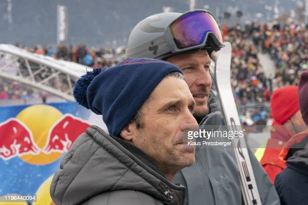 Actor Patrick Dempsey of United States of America and Aksel Lund Svindal of Norway during the Audi FIS Alpine Ski World Cup - Men's Downhill on...