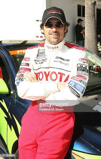 Actor Patrick Dempsey poses for photographer at the Toyota Grand Prix of Long Beach Celebrity Race on April 8 2006 in Long Beach California
