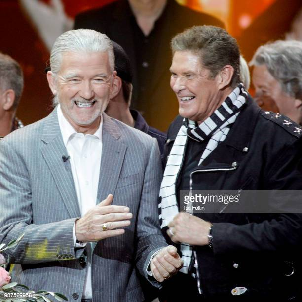 US actor Patrick Duffy and US actor and singer David Hasselhoff during the tv show 'Willkommen bei Carmen Nebel' on March 24 2018 in Hof Germany The...