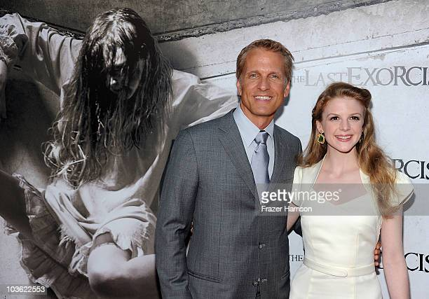 Actor Patrick Fabian and actress Ashley Bell arrives at the screening of Lionsgate's The Last Exorcismat the Arclight theatres on August 24 2010 in...
