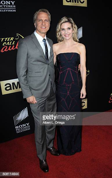 Actor Patrick Fabian and actress Rhea Seehorn arrive for the Premiere Of AMC's 'Better Call Saul' Season 2 held at ArcLight Cinemas on February 2...