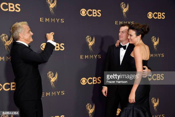 Actor Patrick Fabian and screenwriters Jonathan Nolan and Lisa Joy attend the 69th Annual Primetime Emmy Awards at Microsoft Theater on September 17...