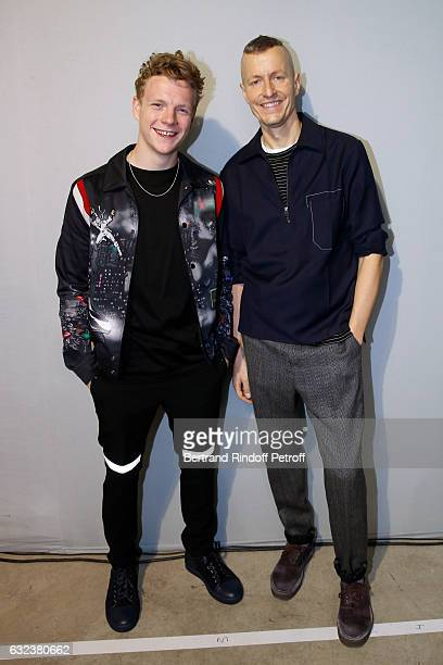 Actor Patrick Gibson and Stylist of 'Lanvin Men' Lucas Ossendrijver attend the Lanvin Menswear Fall/Winter 20172018 show as part of Paris Fashion...
