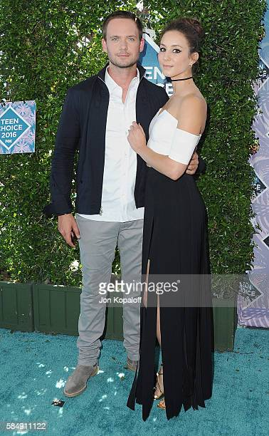 Actor Patrick J Adams and actress Troian Bellisario arrive at the Teen Choice Awards 2016 at The Forum on July 31 2016 in Inglewood California
