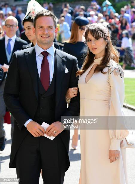Actor Patrick J. Adams and wife Troian Bellisario arrive at St George's Chapel at Windsor Castle before the wedding of Prince Harry to Meghan Markle...