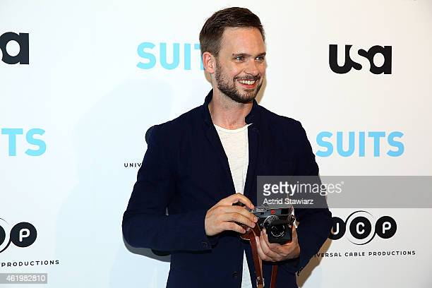 Actor Patrick J Adams attends the Patrick J Adams Exhibition Opening of 'SUITS' Gallery at 402 West 13th Street on January 22 2015 in New York City