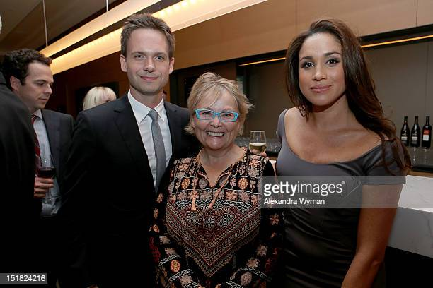 Actor Patrick J Adams FINCA Canada Board Member Jacquie Green and actress Meghan Markle attend the FINCA Canada Fundraiser At TIFF 2012 during the...