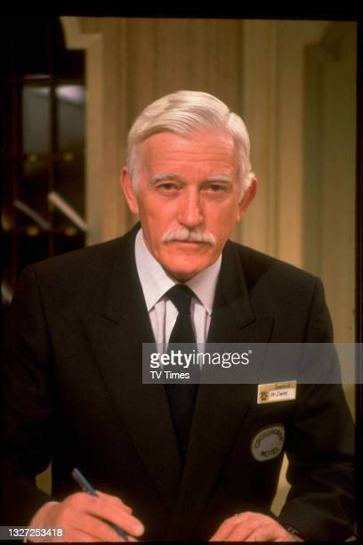 Actor Patrick Jordan in character as Mr Darby in television soap Crossroads, circa 1982.