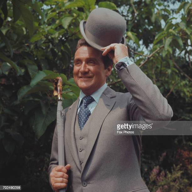Actor Patrick Macnee at Pinewood Studios, near London, for filming of the television series 'The New Avengers', 12th July 1976.