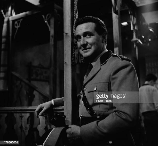 Actor Patrick MacNee in a scene from the episode 'Captain Cavello' of the BBC television series 'Thursday Theatre', 1964.