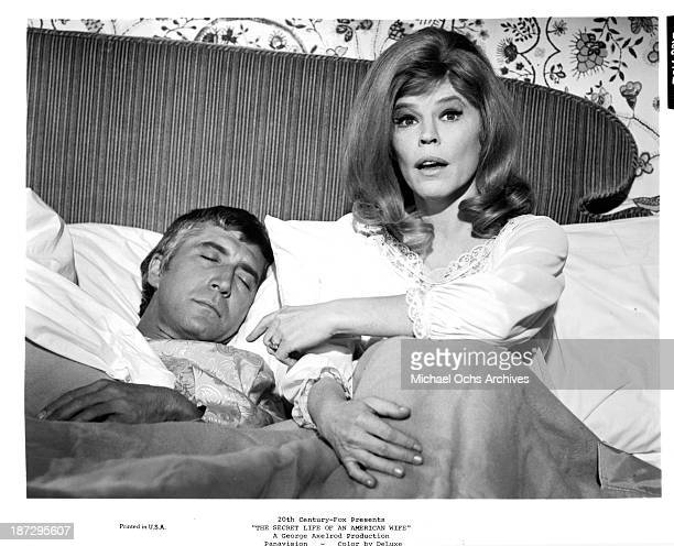 Actor Patrick O'Neal and actress Anne Jackson on set of the 20th CenturyFox movie 'The Secret Life of an American Wife' in 1968