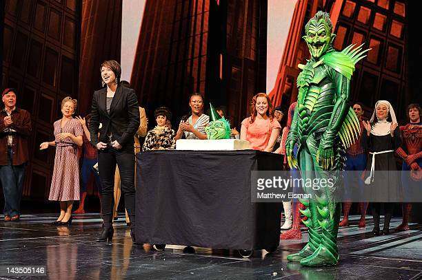 Actor Patrick Page as Green Goblin Paige Davis Reeve Carney as SpiderMan and the cast of SpiderMan Turn Off The Dark celebrate Patrick Page's...