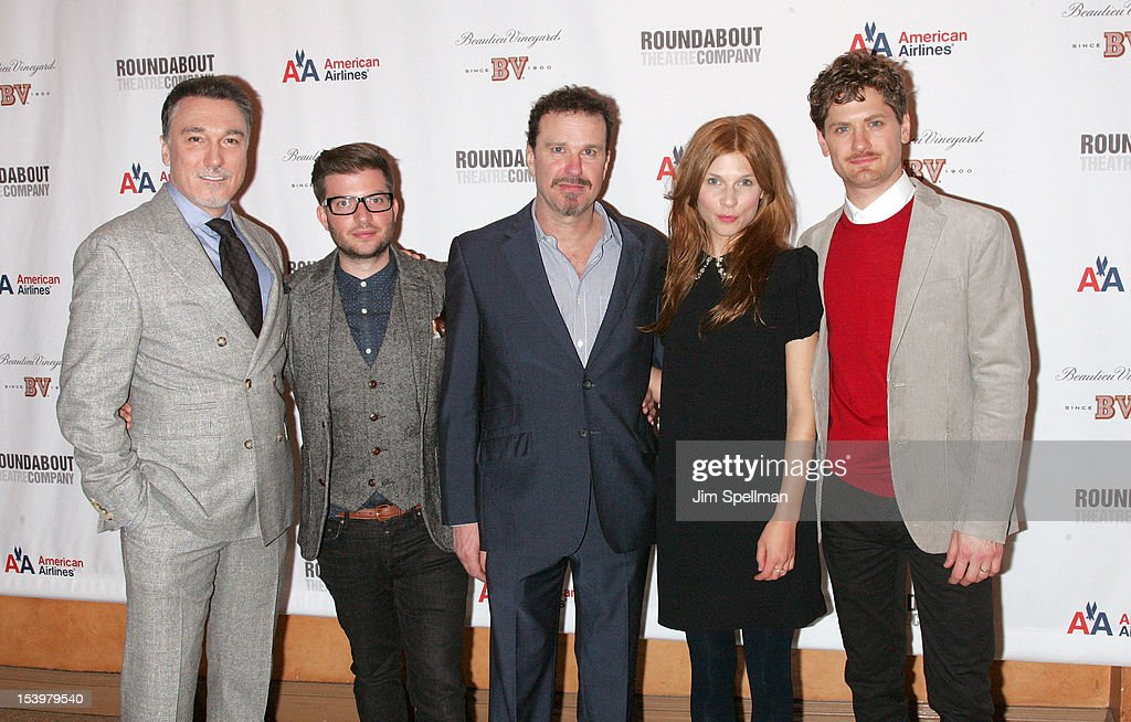 Actor Patrick Page, director Jamie Lloyd, actors Douglas Hodge, Clemence Poesy and Kyle Soller attend 'Cyrano De Bergerac' Broadway Opening Night After Party at American Airlines Theatre on October 11, 2012 in New York City.