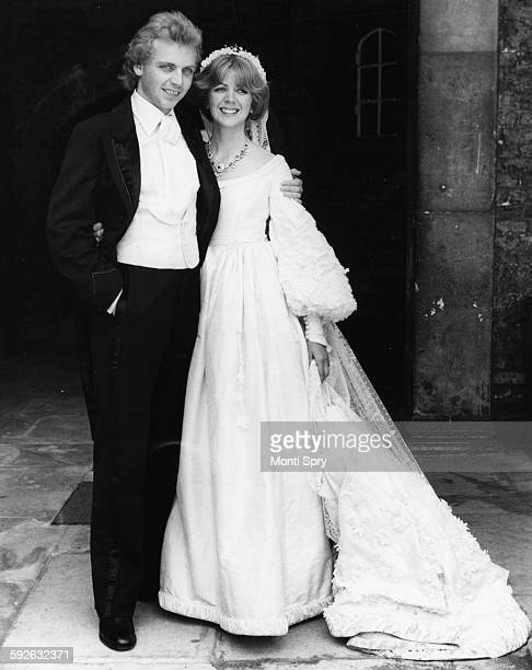 Actor Patrick Ryecart and his bride Lady Marsha FitzalanHoward the daughter of the Duke of Norfolk pictured at the reception following their wedding...