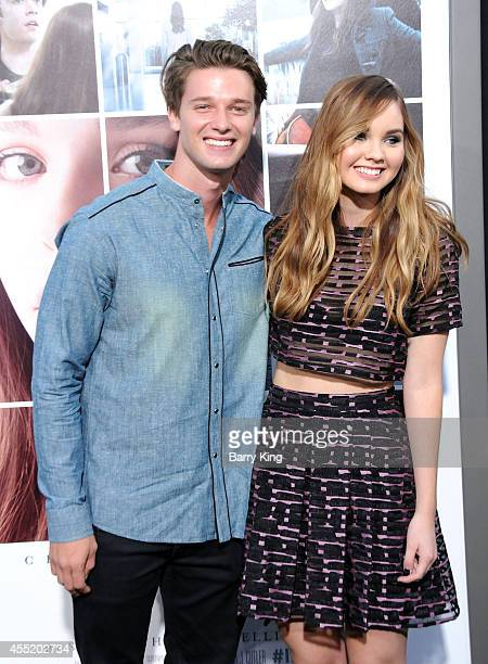 Actor Patrick Schwarzenegger and actress Liana Liberato arrive at the Los Angeles Premiere 'If I Stay' at TCL Chinese Theatre on August 20, 2014 in...