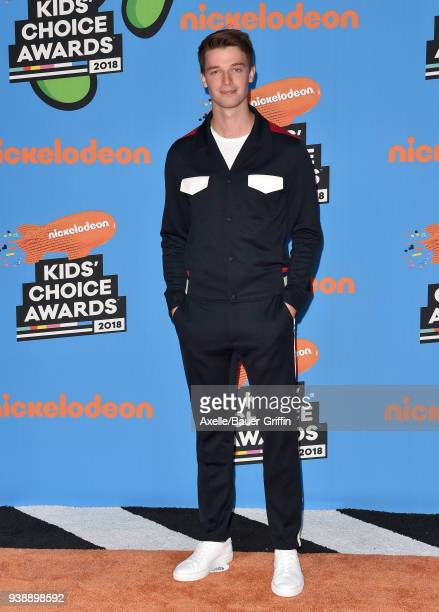 Actor Patrick Schwarzenegger attends Nickelodeon's 2018 Kids' Choice Awards at The Forum on March 24 2018 in Inglewood California