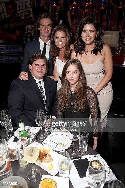 Actor Patrick Schwarzenegger journalist Maria Shriver Katherine Schwarzenegger Christina Schwarzenegger and Christopher Schwarzenegger attend The...