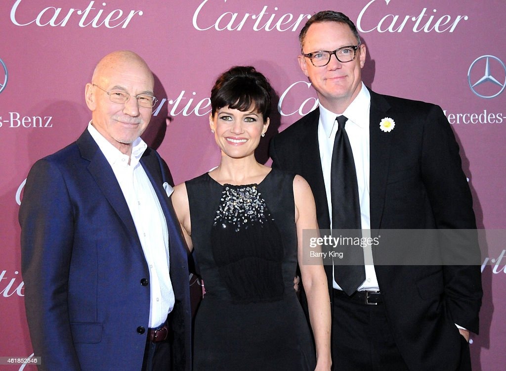 Actor Patrick Stewart, actress Carla Gugino and actor Matthew Lillard arrive at the 26th Annual Palm Springs International Film Festival Awards Gala Presented by Cartier at Palm Springs Convention Center on January 3, 2015 in Palm Springs, California.