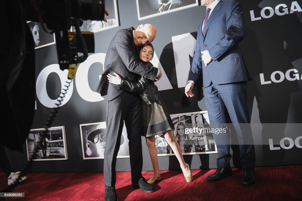 Actor Patrick Stewart and actress Dafne Keen attend the 'Logan' New York special screening at Rose Theater, Jazz at Lincoln Center on February 24, 2017 in New York City.