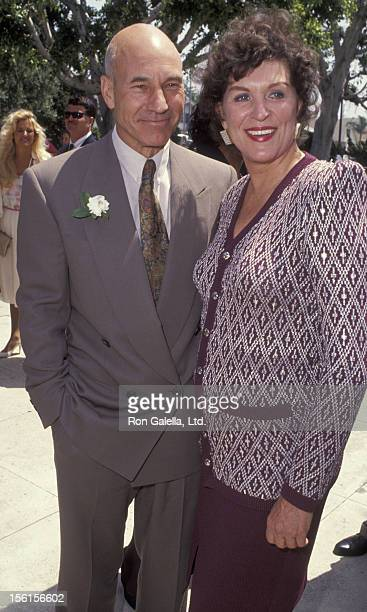 Actor Patrick Stewart and actress Majel BarrettRoddenberry attend Marina SirtisMichael Lamper Wedding Ceremony on June 21 1992 at St Sophia Cathedral...