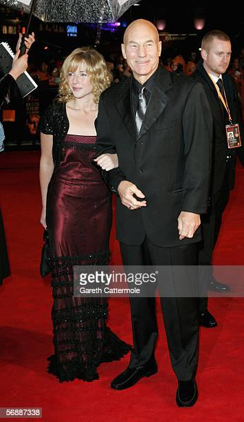 Actor Patrick Stewart and Lisa Dillon arrive at The Orange British Academy Film Awards at the Odeon Leicester Square on February 19 2006 in London...