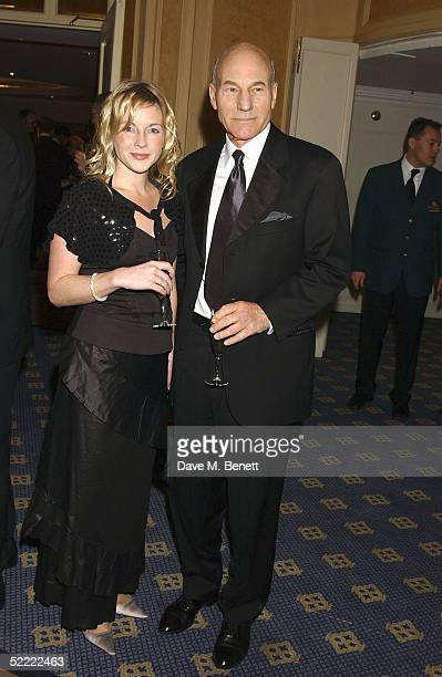Actor Patrick Stewart and Lisa Dillon arrive for the Laurence Olivier Awards at the London Hilton Park Lane February 20 2005 in London England The...