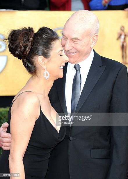 Actor Patrick Stewart and Marina Sirtis arrives at the 17th Annual Screen Actors Guild Awards held at The Shrine Auditorium on January 30 2011 in Los...