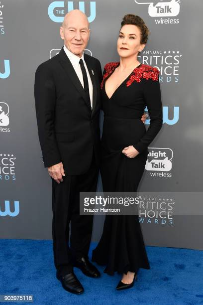 Actor Patrick Stewart and singer Sunny Ozell attend The 23rd Annual Critics' Choice Awards at Barker Hangar on January 11, 2018 in Santa Monica,...