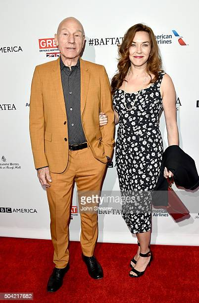 Actor Patrick Stewart and singer Sunny Ozell attend the BAFTA Awards Season Tea Party at Four Seasons Hotel Los Angeles at Beverly Hills on January...