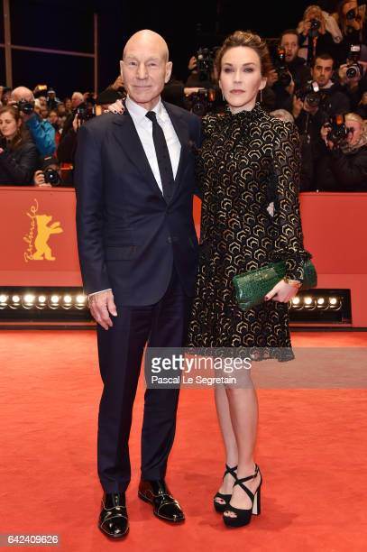 Actor Patrick Stewart and Sunny Ozell attend the 'Logan' premiere during the 67th Berlinale International Film Festival Berlin at Berlinale Palace on...
