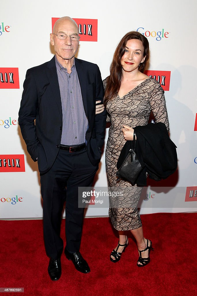 Actor Patrick Stewart (L) and Sunny Ozell walk the red carpet at Google/Netflix White House Correspondent's Weekend Party at United States Institute of Peace on May 2, 2014 in Washington, DC.
